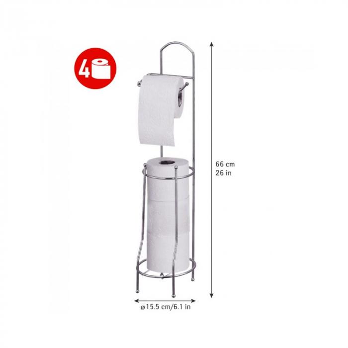 Suport metalic, pentru hartie igienica si role rezerva pe un piedestal, 15,5 x 15,5 x 66 cm 8
