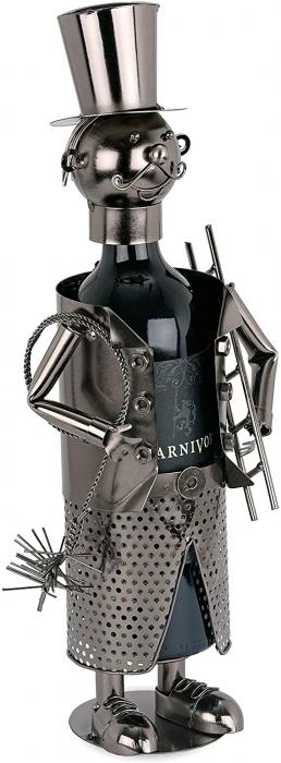 Suport Metalic pentru Sticla de Vin, model Cosar, Capacitate 1 Sticla, Negru/Argintiu, H 28 cm [2]