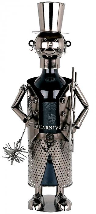 Suport Metalic pentru Sticla de Vin, model Cosar, Capacitate 1 Sticla, Negru/Argintiu, H 28 cm [0]