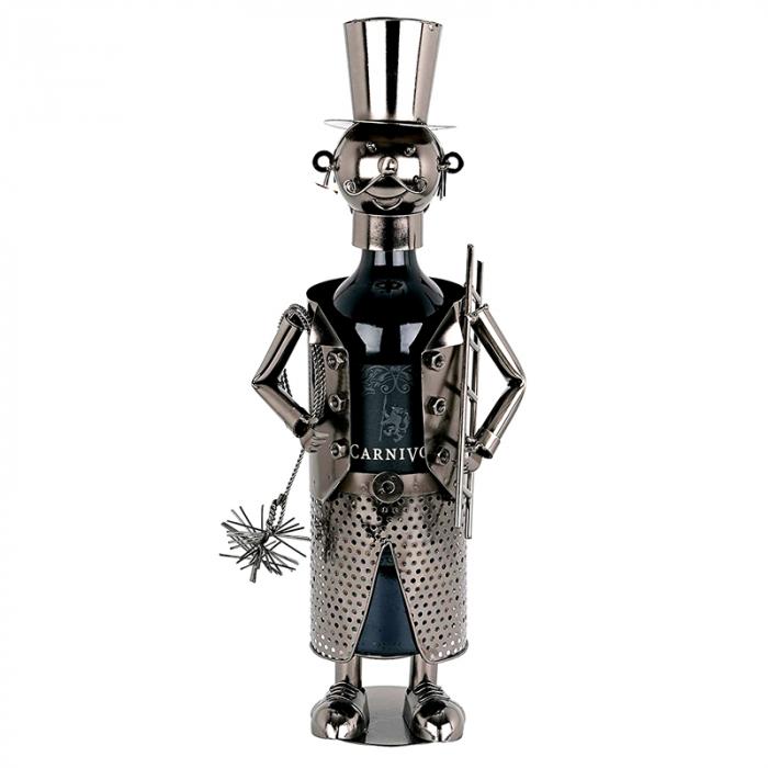 Suport Metalic pentru Sticla de Vin, model Cosar, Capacitate 1 Sticla, Negru/Argintiu, H 28 cm [1]
