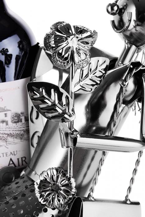 Suport Metalic pentru Sticla de Vin, model Cuplu de Indragostiti, Capacitate 1 Sticla, Negru/Argintiu, H 37 cm [5]