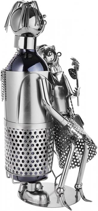 Suport Metalic pentru Sticla de Vin, model Cuplu de Indragostiti, Capacitate 1 Sticla, Negru/Argintiu, H 37 cm [1]