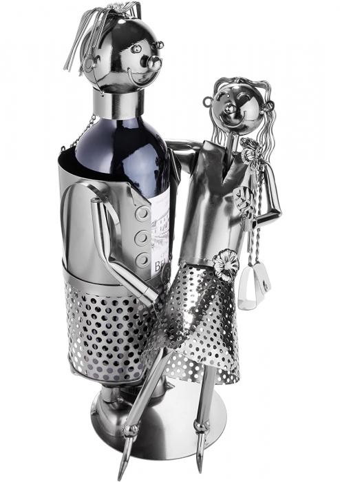 Suport Metalic pentru Sticla de Vin, model Cuplu de Indragostiti, Capacitate 1 Sticla, Negru/Argintiu, H 37 cm [4]