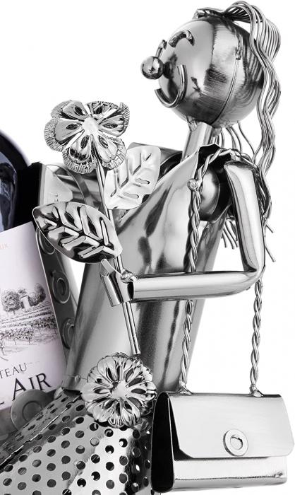 Suport Metalic pentru Sticla de Vin, model Cuplu de Indragostiti, Capacitate 1 Sticla, Negru/Argintiu, H 37 cm [2]