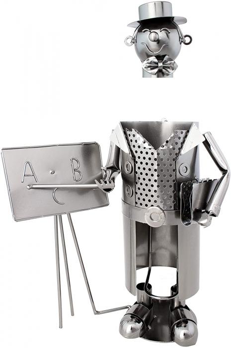 Suport Metalic pentru Sticla de Vin, model Profesor, Capacitate 1 Sticla, Negru/Argintiu, H 37x23.5cm 2