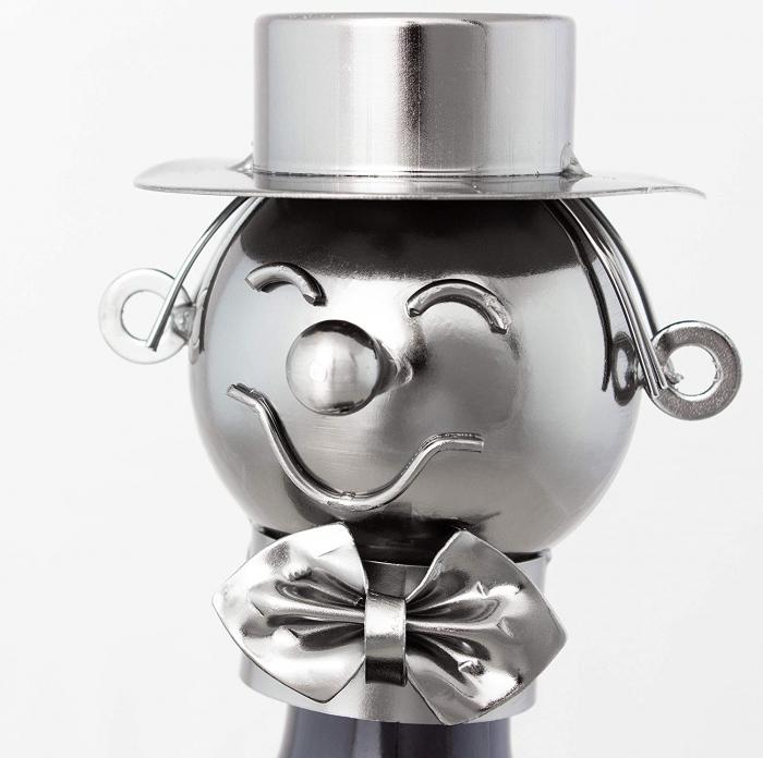 Suport Metalic pentru Sticla de Vin, model Profesor, Capacitate 1 Sticla, Negru/Argintiu, H 37x23.5cm 1