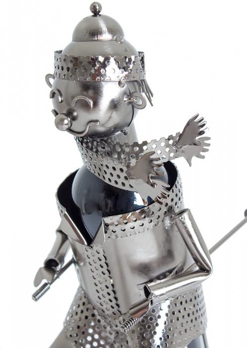Suport Metalic pentru Sticla de Vin, model Skior, Capacitate 1 Sticla, Negru/Argintiu, H 34.5 x l 27cm 1