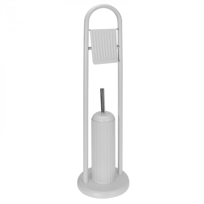 Suport metalic perie WC si hartie igienica, 20 cm x 80 cm, 2.3 kg, Alb 0