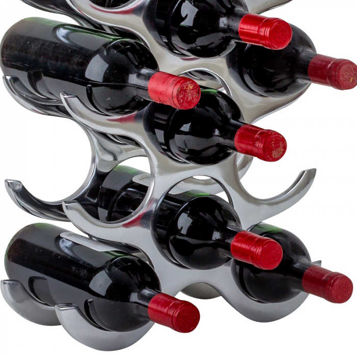 Suport modern de Sticle Vin, NAGO, Metal Cromat, capacitate 15 Sticle, H 57.5, G 2.58 kg 10