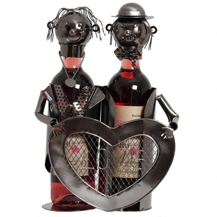 Suport modern de Sticle Vin, NAGO, model cuplu de indragostiti, cu inima LOVE, Metal Lucios, Maro/Negru, capacitate 2 Sticla, H 32 cm, I 24 cm 1