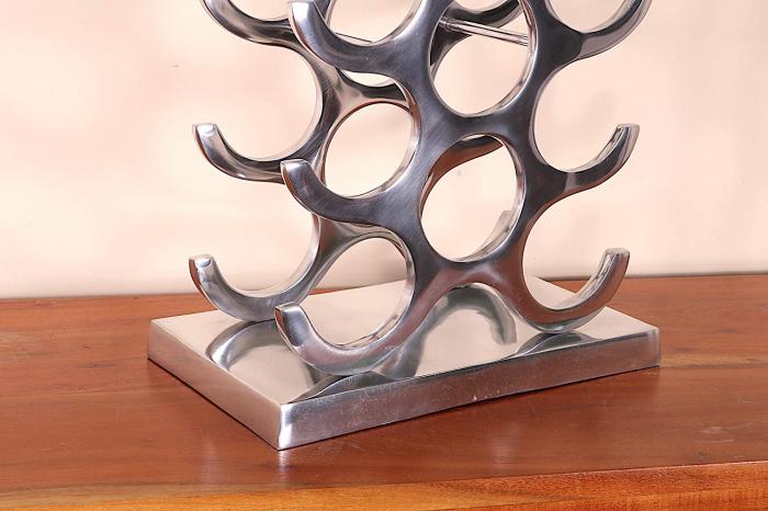 Suport modern pentru Sticle de Vin, din Aluminiu, capacitate 27 sticle, Argintiu, 100 cm x 33.5 cm 4
