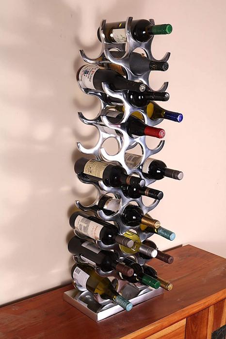 Suport modern pentru Sticle de Vin, din Aluminiu, capacitate 27 sticle, Argintiu, 100 cm x 33.5 cm 6