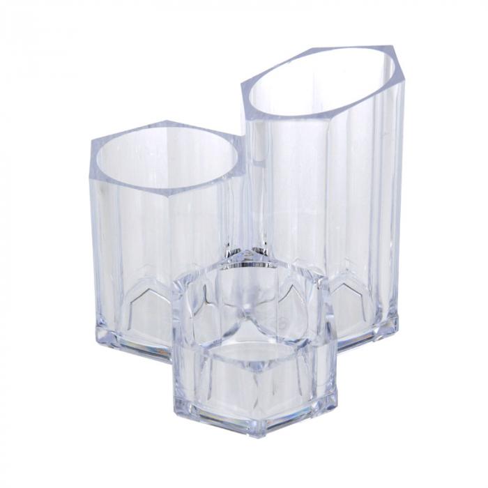 Suport Organizare cosmetice NAGO, 3 compartimente, Plexiglas, 14x14xH12 cm G237g, Transparent 1