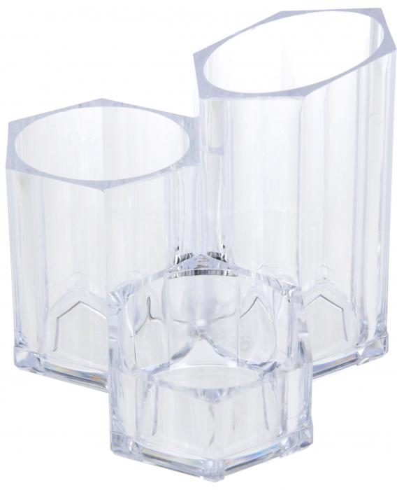 Suport Organizare cosmetice NAGO, 3 compartimente, Plexiglas, 14x14xH12 cm G237g, Transparent 0
