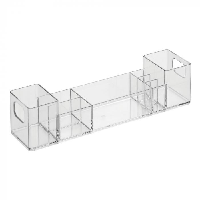 Suport organizare cosmetice, cu 8 compartimente, 30.5x7.8x7.5 cm, G 250g, Transparent 0