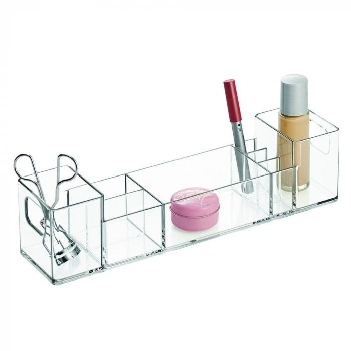 Suport organizare cosmetice, cu 8 compartimente, 30.5x7.8x7.5 cm, G 250g, Transparent 1