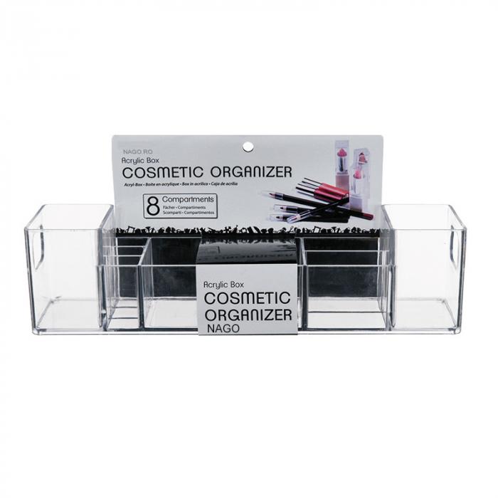 Suport organizare cosmetice, cu 8 compartimente, 30.5x7.8x7.5 cm, G 250g, Transparent 3