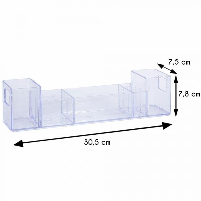 Suport organizare cosmetice, cu 8 compartimente, 30.5x7.8x7.5 cm, G 250g, Transparent 4