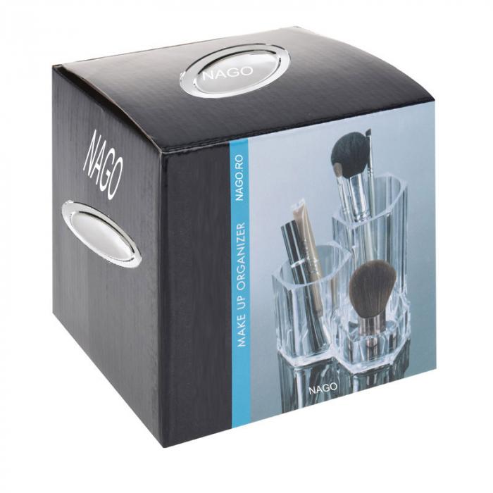 Suport Organizare cosmetice NAGO, 3 compartimente, Plexiglas, 14x14xH12 cm G237g, Transparent 2
