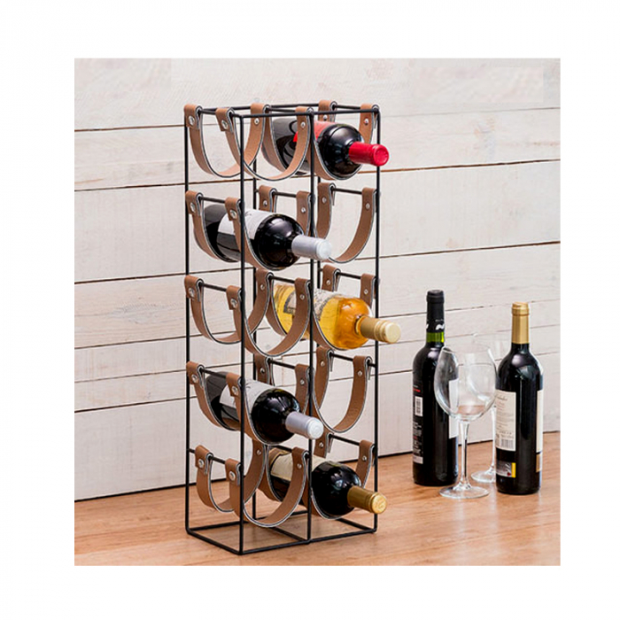 Suport pentru 10 Sticle de Vin, din metal si piele, 24x16x60cm 2