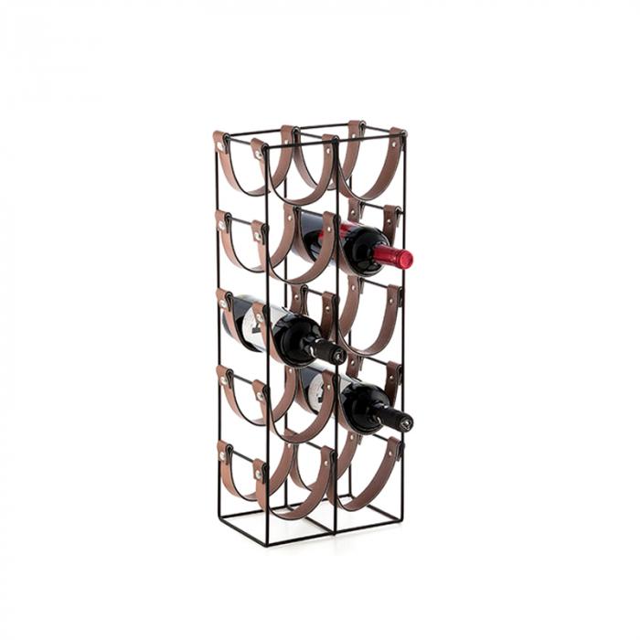 Suport pentru 10 Sticle de Vin, din metal si piele, 24x16x60cm 1
