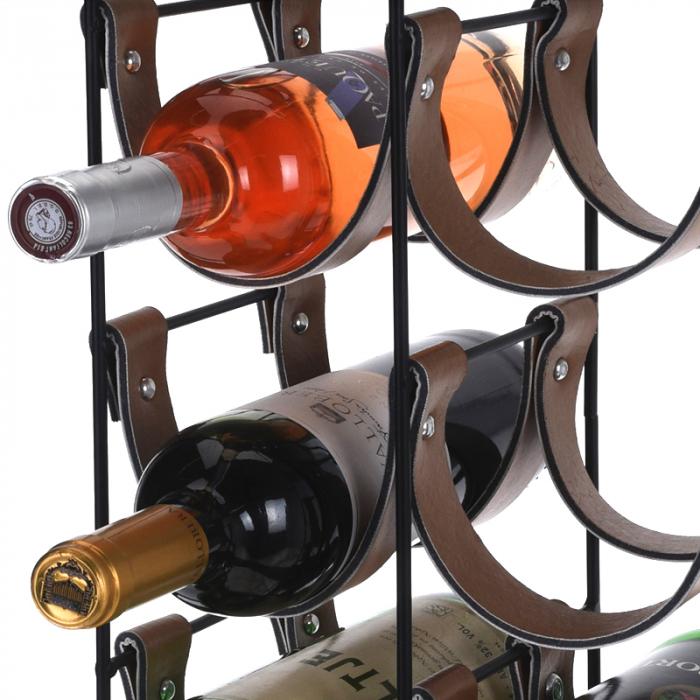 Suport pentru 10 Sticle de Vin, din metal si piele, 24x16x60cm 7