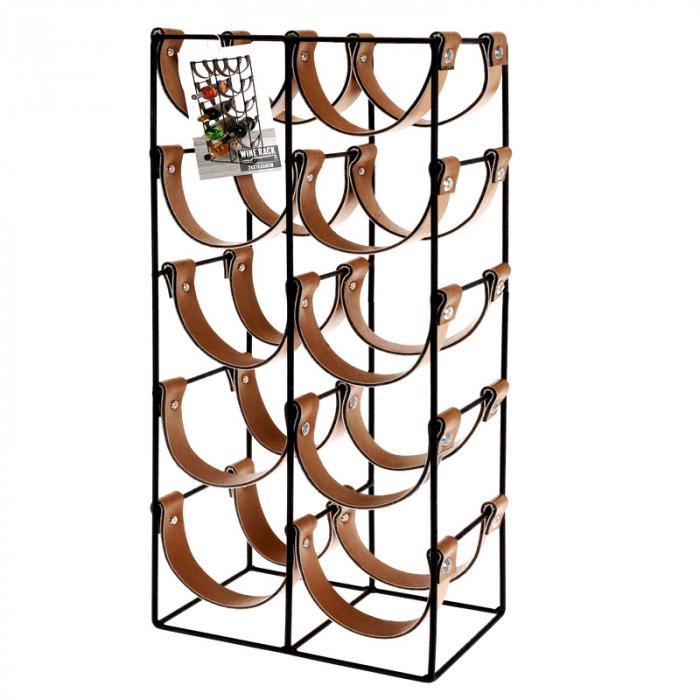 Suport pentru 10 Sticle de Vin, din metal si piele, 24x16x60cm 0