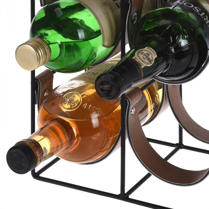 Suport pentru 10 Sticle de Vin, din metal si piele, 24x16x60cm 8
