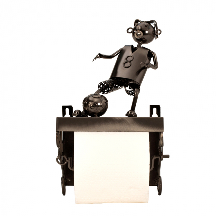 Suport pentru hartie igienica, din metal, model fotbalist, 28x15 cm [7]