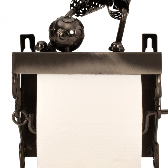 Suport pentru hartie igienica, din metal, model fotbalist, 28x15 cm [9]