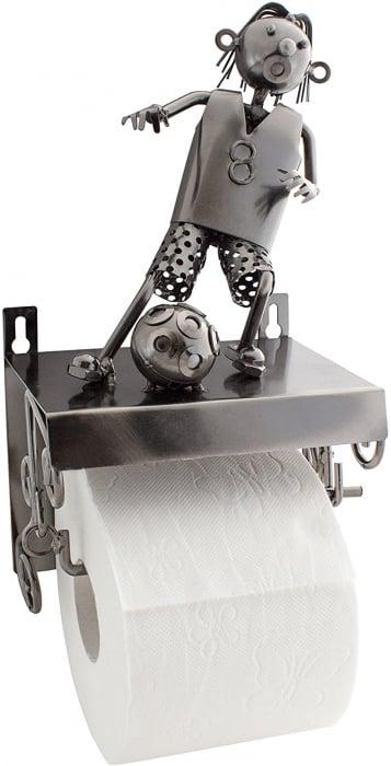 Suport pentru hartie igienica, din metal, model fotbalist, 28x15 cm 2