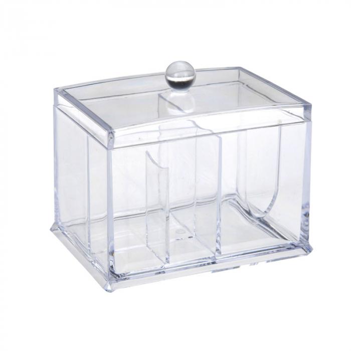 Suport compartimentat, pentru organizare cosmetice, NAGO®, Plexiglas, 15x11x12.5 cm, Transparent 2