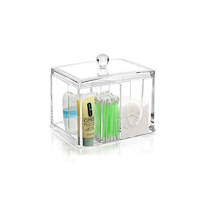 Suport compartimentat, pentru organizare cosmetice, NAGO®, Plexiglas, 15x11x12.5 cm, Transparent 1