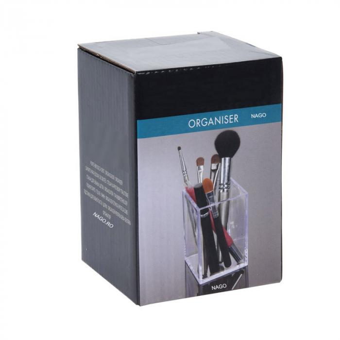 Suport pentru cosmetice mici, pentru Baie, material Plexiglas, 7.5x 7.5x 9.5 cm, Transparent 1