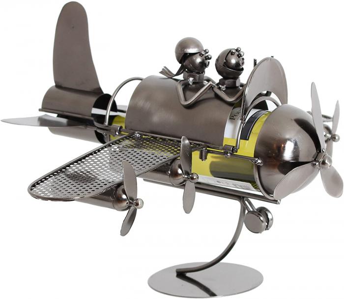 Suport pentru Sticla de Vin din Metal, model Avion, Capacitate 1 Sticla, Cupru, H30cm L 49 cm 0