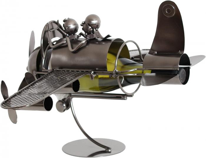 Suport pentru Sticla de Vin din Metal, model Avion, Capacitate 1 Sticla, Cupru, H30cm L 49 cm 2