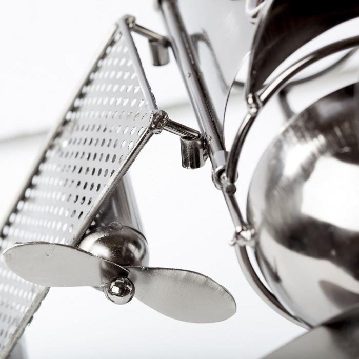 Suport pentru Sticla de Vin din Metal, model Avion, Capacitate 1 Sticla, Cupru, H30cm L 49 cm 9