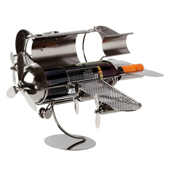 Suport pentru Sticla de Vin din Metal, model Avion, Capacitate 1 Sticla, Cupru, H30cm L 49 cm 6