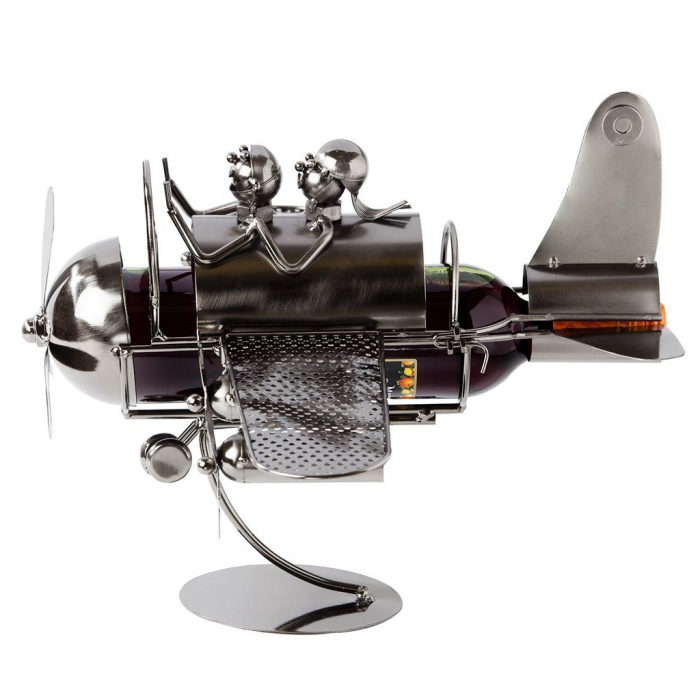Suport pentru Sticla de Vin din Metal, model Avion, Capacitate 1 Sticla, Cupru, H30cm L 49 cm 5