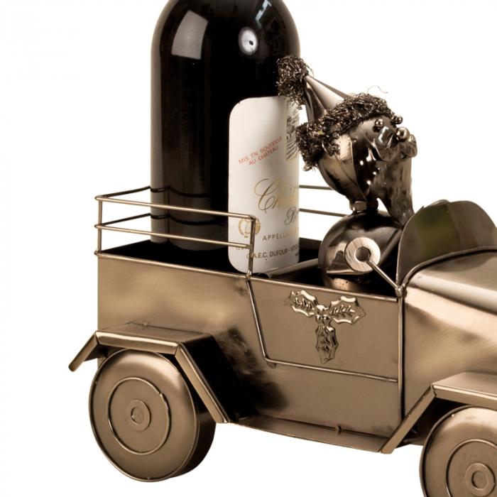 Suport pentru Sticla de Vin din Metal, model Masina cu Mos Craciun H24cm L 34cm [2]