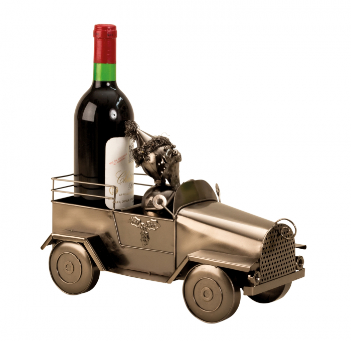 Suport pentru Sticla de Vin din Metal, model Masina cu Mos Craciun H24cm L 34cm [5]
