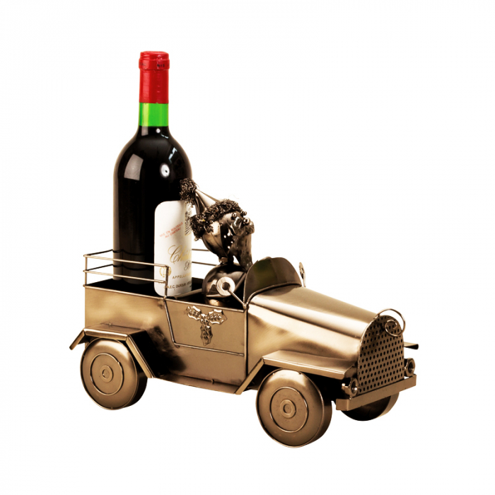 Suport pentru Sticla de Vin din Metal, model Masina cu Mos Craciun H24cm L 34cm [1]