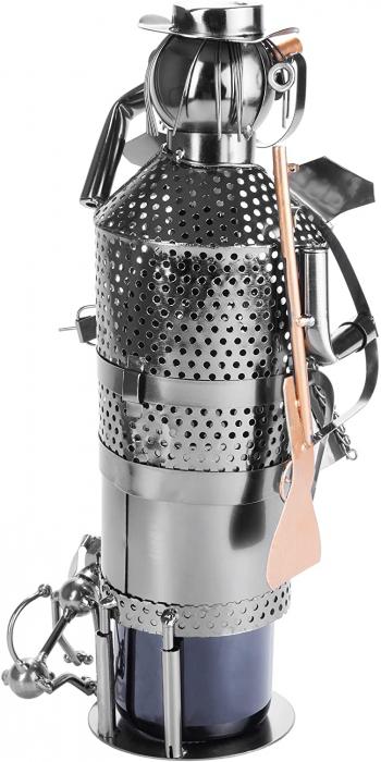 Suport pentru Sticla de Vin din Metal, model Vanator, Capacitate 1 Sticla, Cupru, H 32cm [5]
