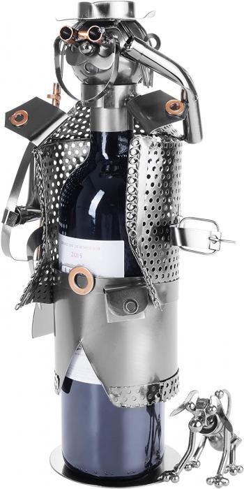 Suport pentru Sticla de Vin din Metal, model Vanator, Capacitate 1 Sticla, Cupru, H 32cm [1]