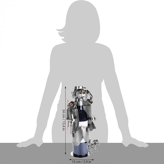 Suport pentru Sticla de Vin din Metal, model Vanator, Capacitate 1 Sticla, Cupru, H 32cm [7]