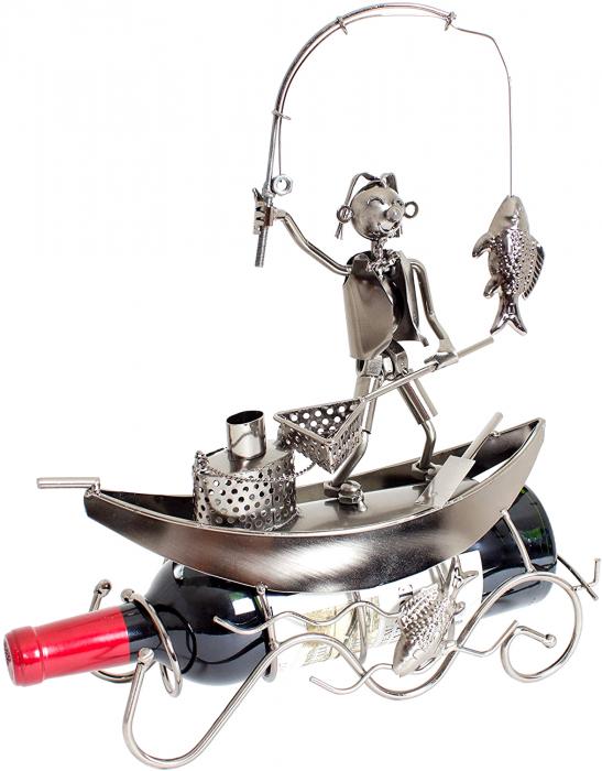 Suport pentru Sticla de Vin, model Pescar cu Barca, Metal Lucios, 39cm l29cm 0