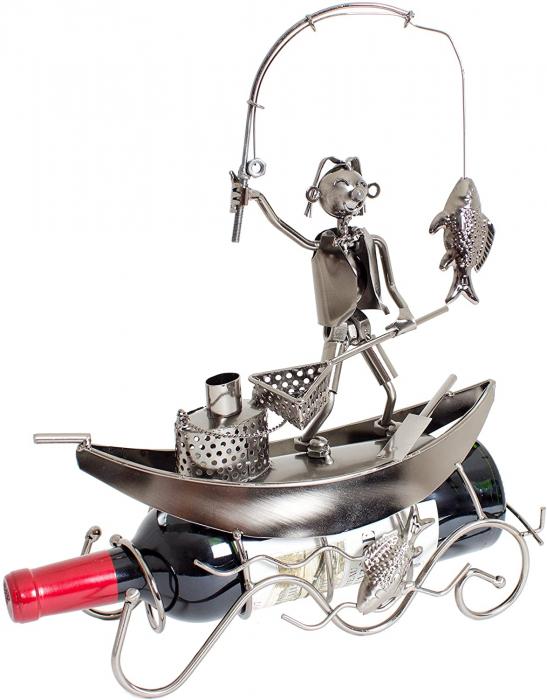 Suport pentru Sticla de Vin, model Pescar cu Barca, Metal Lucios, 39cm l29cm 1