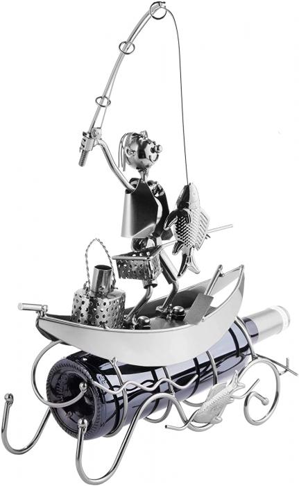 Suport pentru Sticla de Vin, model Pescar cu Barca, Metal Lucios, 39cm l29cm [7]