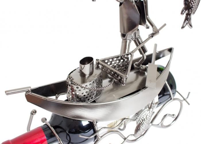 Suport pentru Sticla de Vin, model Pescar cu Barca, Metal Lucios, 39cm l29cm 2