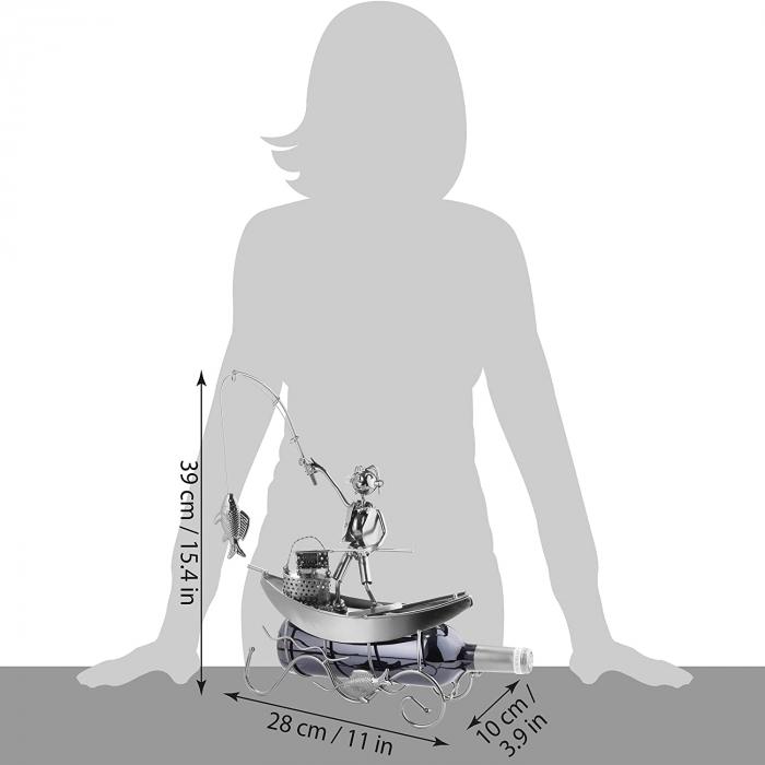 Suport pentru Sticla de Vin, model Pescar cu Barca, Metal Lucios, 39cm l29cm [11]